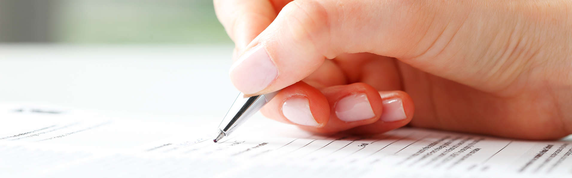 Writing Completing Form